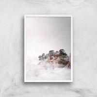 Mountain Top Peeking Through The Clouds Giclee Art Print - A4 - White Frame