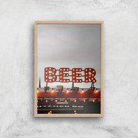 Beer Giclee Art Print - A3 - Wooden Frame - Alcohol Gifts