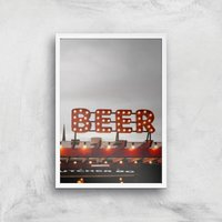 Beer Giclee Art Print - A3 - White Frame - Alcohol Gifts