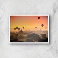 Hot Air Balloon Sunset Giclee Art Print - A2 - White Frame