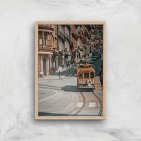 Cable Trolly Giclee Art Print - A2 - Wooden Frame