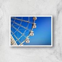 Ferris Wheel Carriages Giclee Art Print - A4 - White Frame