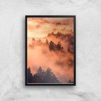 Sunset Forest Giclee Art Print - A3 - Black Frame
