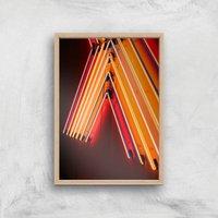 Neon Nights Giclee Art Print - A4 - Wooden Frame