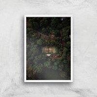 Tennis Court Giclee Art Print - A4 - White Frame - Sport Gifts