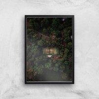 Tennis Court Giclee Art Print - A4 - Black Frame - Sport Gifts