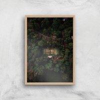 Tennis Court Giclee Art Print - A3 - Wooden Frame - Sport Gifts