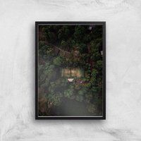 Tennis Court Giclee Art Print - A2 - Black Frame - Sport Gifts