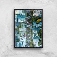 Lombard Street Giclee Art Print - A2 - Black Frame