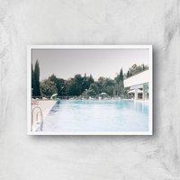 Pool Side Giclee Art Print - A4 - White Frame