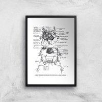 Lunar Lander Giclee Art Print - A4 - Black Frame