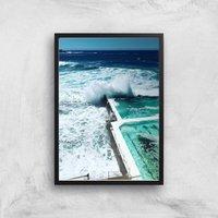 Crashing Waves Giclee Art Print - A4 - Black Frame