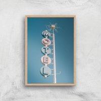 Motel Sign Giclee Art Print - A2 - Wooden Frame