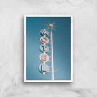 Motel Sign Giclee Art Print - A2 - White Frame