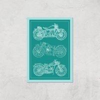 Motorbike Diagram Giclee Art Print - A3 - Print Only
