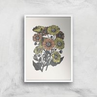 Yellow And Orange Flowers Giclee Art Print - A3 - White Frame