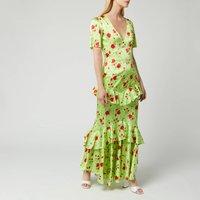 De La Vali Womens Juliette Silk Satin Dress - Green Rose - UK 6