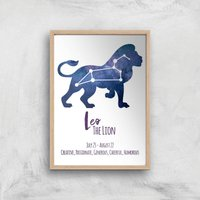 Leo The Lion Giclee Art Print - A3 - Wooden Frame