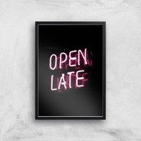 Open Late Giclee Art Print - A4 - Black Frame