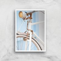 Rusty Bicycle Giclee Art Print - A4 - White Frame
