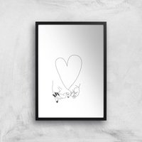 Pinky Promise Mother Baby Giclee Art Print - A4 - Black Frame - Baby Gifts