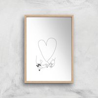 Pinky Promise Mother Baby Giclee Art Print - A3 - Wooden Frame - Baby Gifts