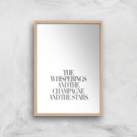 The Whisperings And The Champagne Giclee Art Print - A3 - Wooden Frame - Alcohol Gifts