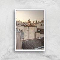 Paris At Dusk Giclee Art Print - A3 - White Frame - White Gifts
