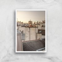 Paris At Dusk Giclee Art Print - A2 - White Frame - White Gifts