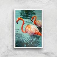 Flamingo Giclee Art Print - A3 - White Frame - Frame Gifts