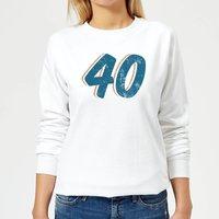 40 Distressed Women's Sweatshirt - White - M - White