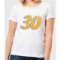 30 Distressed Women's T-Shirt - White - 4XL - White