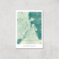City Art Coloured Copenhagen Map Art Print - A2 - Print Only