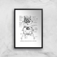 Lunar Schematic Art Print - A3 - Black Frame