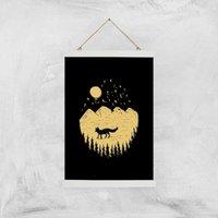 Moonlight Fox Adventure Art Print - A3 - White Hanger