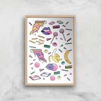 80s Items Art Print - A2 - Wooden Frame