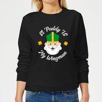 St Paddy Is My Wingman Women's Sweatshirt - Black - M - Black