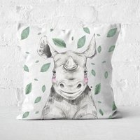 Rhino And Leaves Square Cushion - 40x40cm - Soft Touch