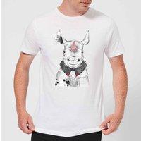 Clown Rhino Men's T-Shirt - White - S - White