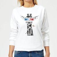 3D Giraffe Women's Sweatshirt - White - XXL - White