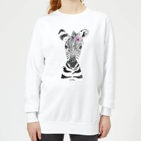 Floral Zebra Women's Sweatshirt - White - XL - White