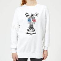 3D Zebra Women's Sweatshirt - White - XS - White