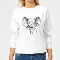 Cute Elephant Women's Sweatshirt - White - L - White