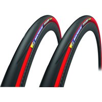 Michelin Power Road Clincher Tyre Twin Pack - 700c x 25mm - Red