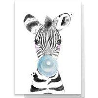 Zebra Blue Bubblegum Greetings Card - Large Card