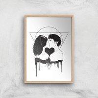 Cosmic Love Black & White Print Giclee Art Print - A3 - Wooden Frame