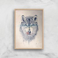 Dinner Time Giclee Art Print - A4 - Wooden Frame