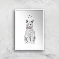 King Of Everything Black & White Giclee Art Print - A4 - White Frame