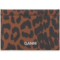 Ganni Women's Leopard Print Card Holder - Toffee