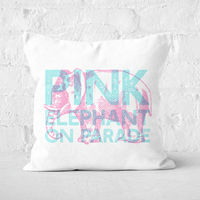Pressed Flowers Pink Elephant Square Cushion - 60x60cm - Soft Touch
